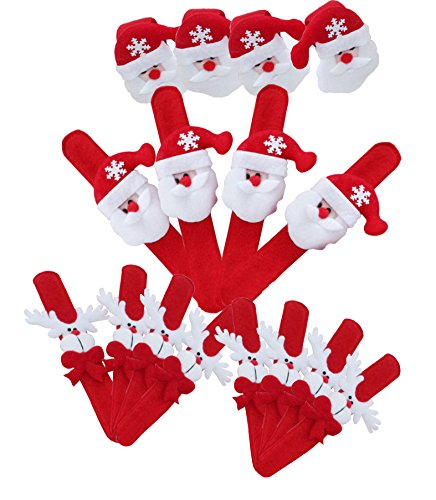 OWNFUN Christmas Slap BraceletsSlap Bands Classroom Prize Wrist DecorationChristmas Party FavorsSet of 16