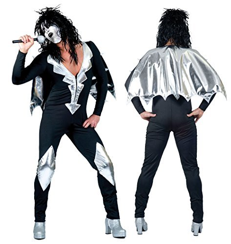 Mens Glam Rock Jumpsuit Costume for 70s 80s Music Fancy Dress Outfit Adult 52/54 by Partypackage (70s Glam Rock Fancy Dress)