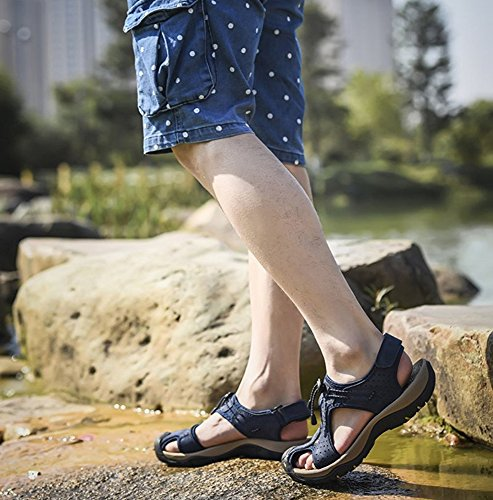 Sandali Blu da Sandali Spiaggia da Antiscivolo Esterni in da Spiaggia Baotou Uomo Estivi Pelle hellomiko Traspiranti g1zTwqqH