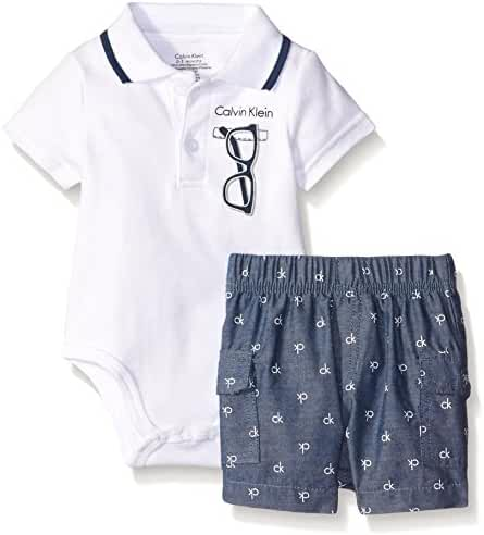 Calvin Klein Baby Boys' Interlock Bodysuit with Woven Shorts