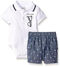 Calvin Klein Newborn Boys Interlock Body Top with Woven Shorts, White, 0-3 Months