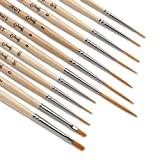 short detail brush set - Jerry Q Art 12 Pcs Detail Paint Brushes, Golden Synthetic Hair, High Performance for Oil, Acrylic and Watercolor JQ-503