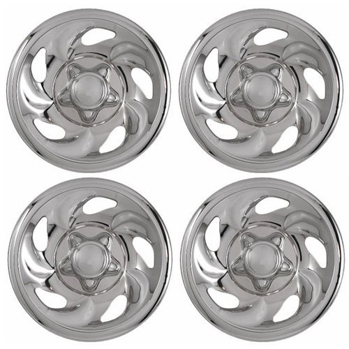 Set of 4 Chrome Wheel Skin Hub Covers With Center For Ford ('97 - '03 F150) & '97 - '00 Expedition 16x7 Inch 5 Lug Steel Rim - Aftermarket: -