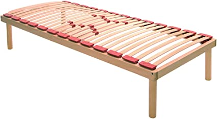 RM - Somier ortopédico fijo de láminas de madera de haya pura con amortiguadores y reguladores de rigidez dorsal individual, 85 x 190 cm