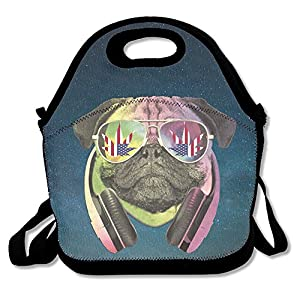 DJ Rainbow Pug With America Flad Weed Sunglass Lunch Tote Bag Picnic Lunchbox Insulated Reusable Container Organizer Form Adults, Kids