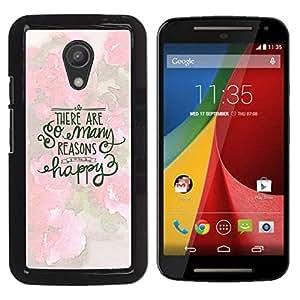 YOYOYO Smartphone Protección Defender Duro Negro Funda Imagen Diseño Carcasa Tapa Case Skin Cover Para Motorola MOTO G 2ND GEN II - feliz primavera de motivación inspiradora