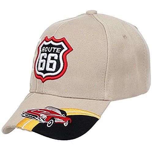 Baseball Cap Route 66 Fashion Hat Headwear Bike Wing CA Casual Premium Quality (One Size, 01-Classic Car_Khaki) (Best Bike Routes Los Angeles)