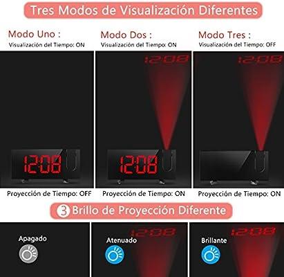 Holife Radio Despertador Proyector, [2018 Actualizado] Despertador Reloj Digital de Proyección, con Radio FM, Doble Alarma, Función Snooze, Carga USB, ...