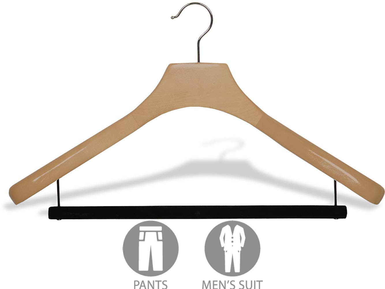 Deluxe Wooden Suit Hanger with Velvet Bar, Natural Finish & Chrome Swivel Hook, Large 2 Inch Wide Contoured Coat & Jacket Hangers (Set of 24) by The Great American Hanger Company by The Great American Hanger Company (Image #3)