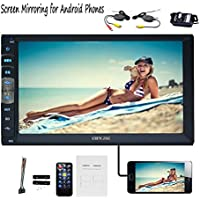 EinCar Double Din Bluetooth 7 inch Multi Touch Screen Car Stereo MP5 1080P Video Audio fm radio tf usb aux Wireless Rear View Camera Wireless Remote Control Mirror Link for Most Android phones