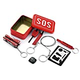 Amorly 6-in-1 SOS Survival Kit Outdoor Emergency Survival Tool for Camping/Hiking,Multi-Purpose Pliers,First Aid Whistle,Compass,Card Tool,Wire Saw,Flintstone