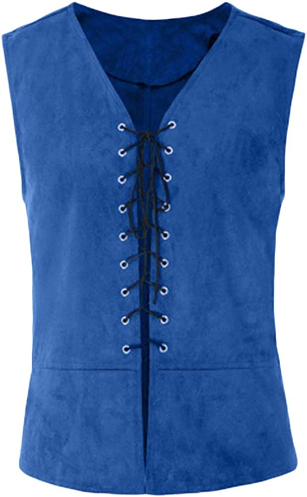Mens Medieval Sleeveless Lace-Up Renaissance Waistcoat Gothic Steampunk Medieval Retro Vest