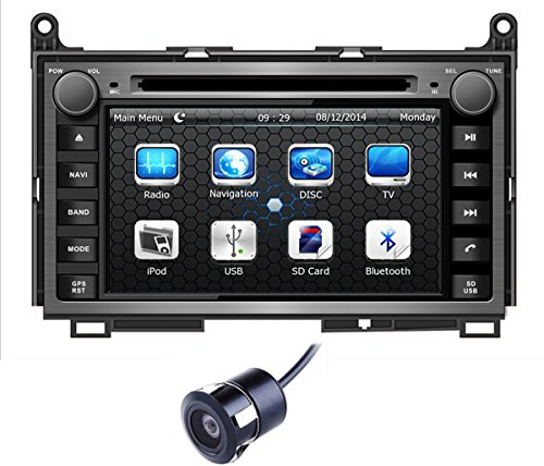 Crusade 7 Inch Car Stereo DVD Player for Toyota Venza 2009 2010 2011 2012 Double Din 7 Inch Touch Screen TFT LCD Monitor In-dash DVD Video Receiver Car GPS Navigation System with Built-In Bluetooth TV Radio, Support Factory Steering Wheel Control, RDS SD/USB iPod AV BT AUX IN with Free Reverse Backup Rear View Reversing Camera & Free USA Map As Gift (Crusades Players)