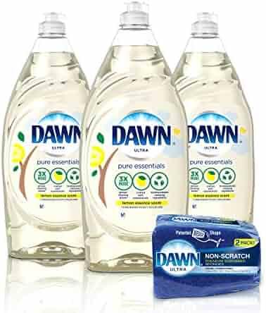 Dawn Pure Essentials Dishwashing Liquid Dish Soap (3x24oz) + Non-Scratch Sponge (2ct), Lemon Essence