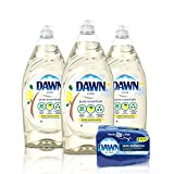 Dawn Pure Essentials Dishwashing Liquid Dish Soap (3x24oz) + Non-Scratch Sponge (2ct), Lemon Essence, 1 Set