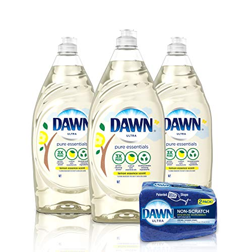 Dawn Pure Essentials Dishwashing Liquid Dish Soap (3x24oz) + Non-Scratch Sponge (2ct), Lemon Essence ()