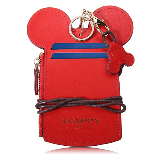 Neck Pouch, Charminer Card Holder Wallet Purse Neck Bag Travel Documents, Cute Animal Shape for Women Pink red