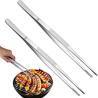 2 Pcs 12-Inch Tweezer Tongs,Kitchen Tweezer Tongs,Extra-Long Stainless Steel Tweezers Tongs,Long Food Tongs with Precision Serrated Tips for Cooking,Repairing,Sea Food,Silver Long BBQ Tongs