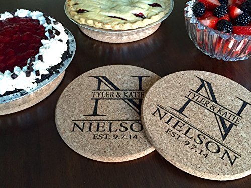 """Personalized by Name 7"""" Cork Trivet Kitchen Hot Pads for Table Dishes - Wedding Coasters and Also Unique Bridal Shower Gifts (Set of 2, Nielson (Personalized Name Coaster)"""