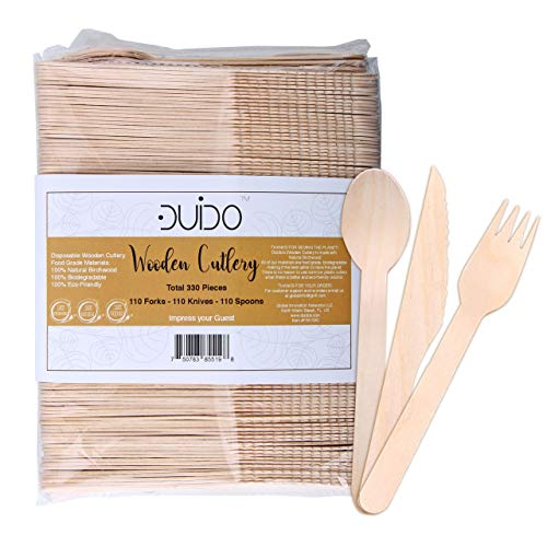 Biodegradable Disposable Wooden Cutlery Utensils - (Pack of 330) 110 Forks 110 Knives 110 Spoons 5.5-inch Set Eco-Friendly Compostable Silverware Kit Party Supplies Events Better Than Bamboo Palm Leaf ()