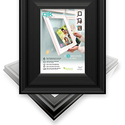 (QIK FRAME: Quick Change Wall Picture Frame, 5x7 Black (Use Horizontal or Landscape) | Easy as 1,2,3 - Peel, Stick & Lift to Change. Fast Install, No Nails! Change Art or Images by Lifting & Switching. )