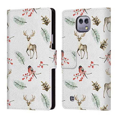 (Official Julia Badeeva Snowflakes Animal Patterns 4 Leather Book Wallet Case Cover for LG X cam)