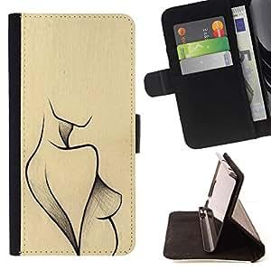 Momo Phone Case / Flip Funda de Cuero Case Cover - Arte Mujer de tinta de la manera atractiva - Sony Xperia Z2 D6502