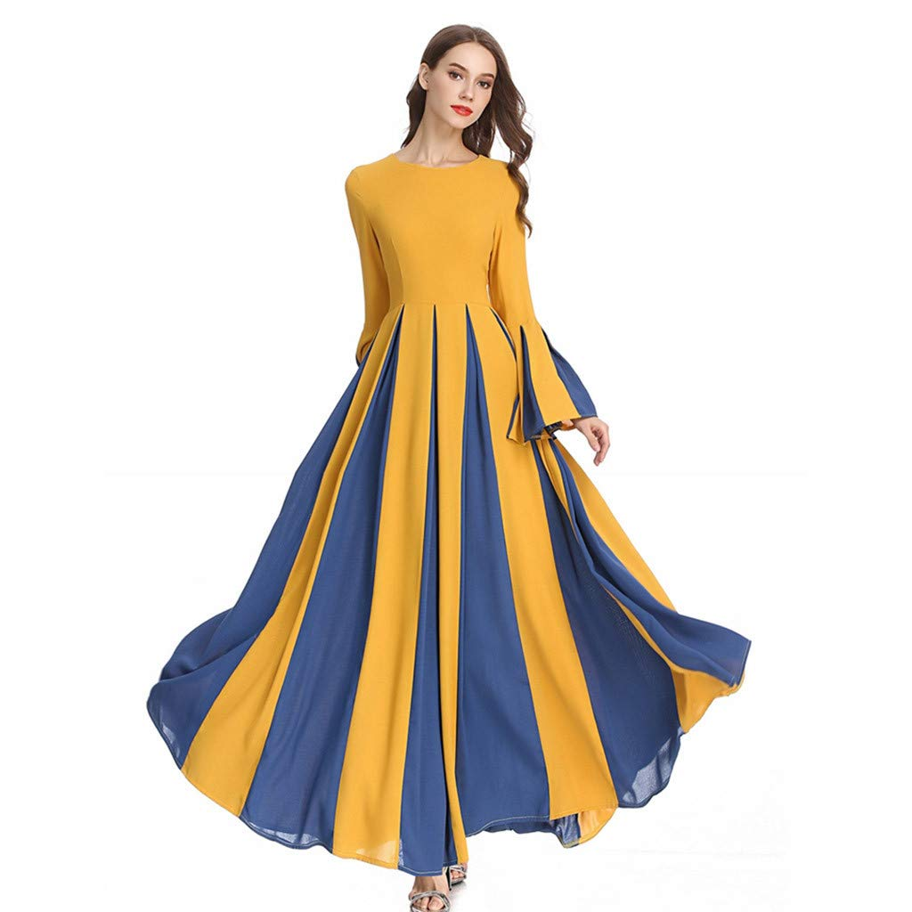 Sayhi Muslim Women's Stitching Slim A-line Pleated Dress Temperament Lady Dress Gowns Robe for Party Occasion(Yellow,M) by Sayhi (Image #5)