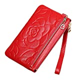 Women's Genuine Leather Cell Phone Wristlets Clutch Wallet-Welegant Rose Zip Purse Case Phone Pocket Handbag for iPhone Samsung (Rose Flower, Red)