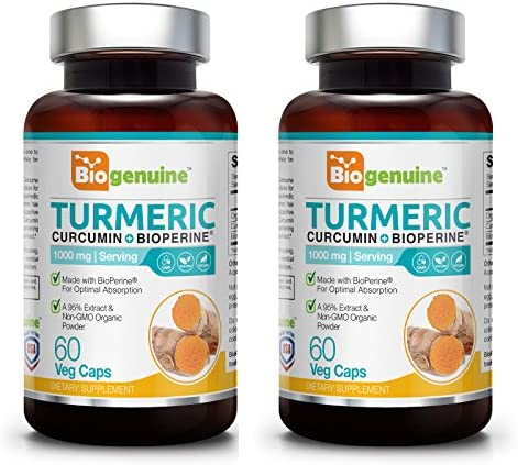 Organic Turmeric Curcumin Plus BioPerine 1000 mg 60 Vcaps 2 Pack – Powerful Anti-Inflammatory Joint Health Antioxidant Support Immune Boost
