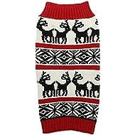 "Ugly Vintage Knit Xmas Reindeer Holiday Festive Dog Sweater for Large Dogs, XX-Large (XXL) Size 23"" Back Length"