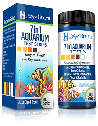 Stript Health 7-Way Aquarium Test Strips 100 Count - Easily Test Your Salt/Fresh Water Tank - Spend More Time Enjoying Your Fish - One Simple Strip Test - Rapid Results (Test Kit Freshwater Saltwater)