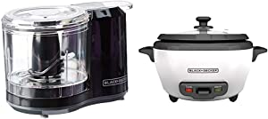 BLACK+DECKER 1.5-Cup Electric Food Chopper, Improved Assembly, Black, HC150B & RC506 6-Cup Cooked/3-Cup Uncooked Rice Cooker and Food Steamer, White