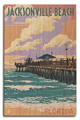 Lantern Press Jacksonville Beach, Florida - Pier and Sunset (10x15 Wood Wall Sign, Wall Decor Ready to Hang) (Home Jacksonville Fl Decor)