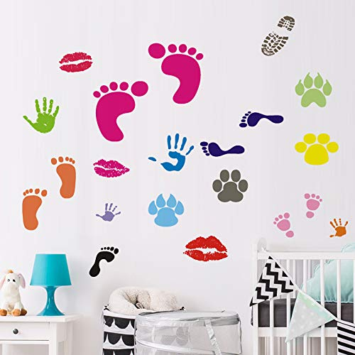BUCKOO Colorful Abstract Foot&Hand Prints Wall Decal Sticker Peel and Stick DIY Easy to Install   Nursery Playroom Classroom or Daycare Decor Wall Decals Home Decor