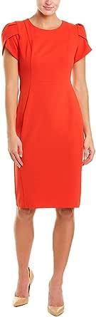 Donna Morgan Womens D6881M Tulip Sleeve Crew Neck Crepe Sheath Dress Cap Sleeve Dress