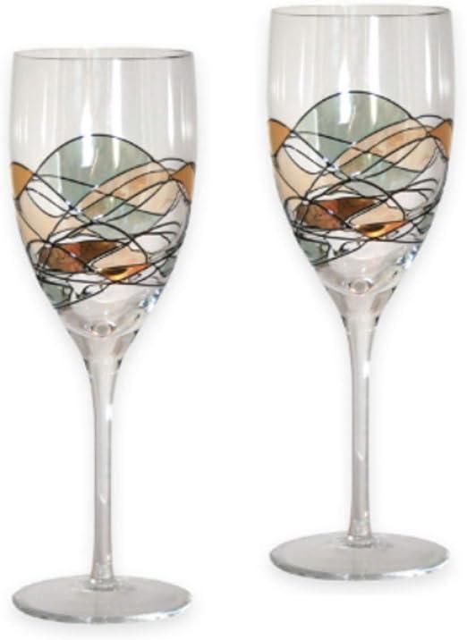 Par de Copas de Vino de Calidad con diseño de Mosaico, Color Rojo y Blanco, soplado a la Boca/Cristal Decorado a Mano, Color Dorado/Agua, Ideal Boda, 24 cm: Amazon.es: Hogar