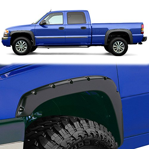 Fender Flares Kit for 1999-2006 Chevy Silverado GMC Sierra (Incl. 2007 Classic Models), Textured Matte Black Finish Front Rear Tire Fenders Pocket Rivet Style 4Pcs ()