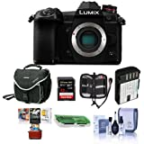 Panasonic Lumix G9 Mirrorless Camera Body, Black - Bundle With 32GB SDHC U3 Card, Spare Battery, Camera Case, Cleaning Kit, Memory Wallet, Card Reader, Mac Software Package