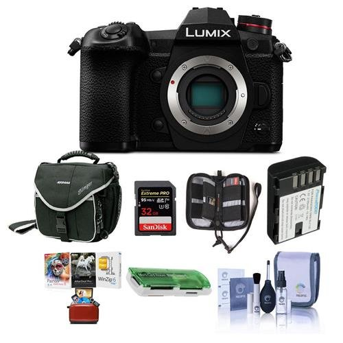 Panasonic Lumix G9 Mirrorless Camera Body, Black - Bundle with 32GB SDHC U3 Card, Spare Battery, Camera Case, Cleaning Kit, Memory Wallet, Card Reader, Mac Software Package (Panasonic Reader)