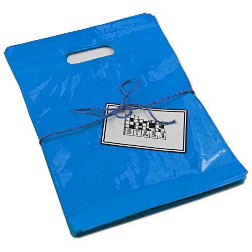 PackStash (50 Qty) 20 x 23 x 5 Royal Blue Retail Merchandise Plastic Shopping Bags - (XLarge) Premium Tear-Resistant Film, Double Thick Handles, Vibrant Glossy Finish