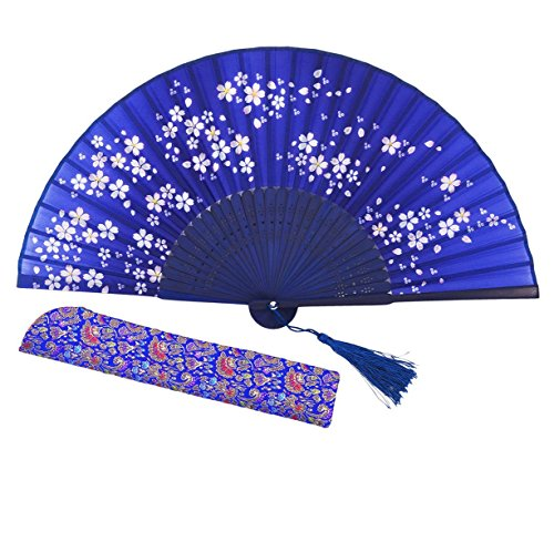 Amajiji Chinese Japanese Folding Hand Fan for Women,Vintage Retro Style 8.27 (21CM) Bamboo Wood Silk Hand Fans (CL-02)