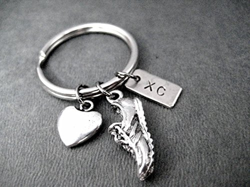 Xc Ring (LOVE TO RUN XC Key Chain - Heart, Running Shoe Charm and Nickel Silver XC Pendant on Round Stainless Steel Key Ring)
