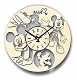Cheap 7ArtsStudio Mickey Mouse Wall Clock Made of Wood – Perfect and Beautifully Cut – Decorate Your Home with Modern Art – Unique Gift for Him and Her – Size 12 Inches