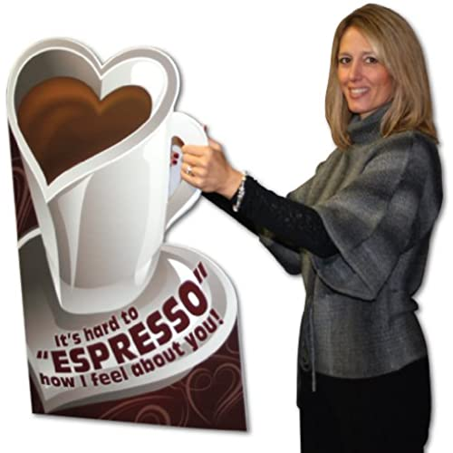 2'x3' Coffee Cut Shaped Card W/Envelope (Valentine's Day Design) - Huge Greeting Card Sales