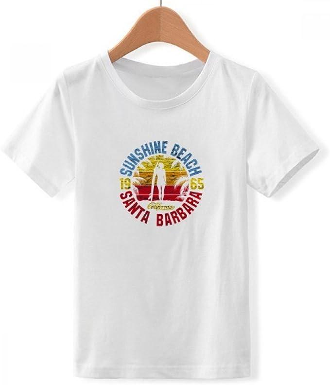 DIYthinker Playa del Coco árbol ilustrado Modelo con Cuello Redondo de la Camiseta para Chico: Amazon.es: Ropa y accesorios
