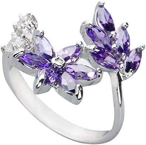 BQZB Anillo Glamorous Purple Stone 3 * 5mm Piedra semipreciosa Plata Cool para Mujer Anillo
