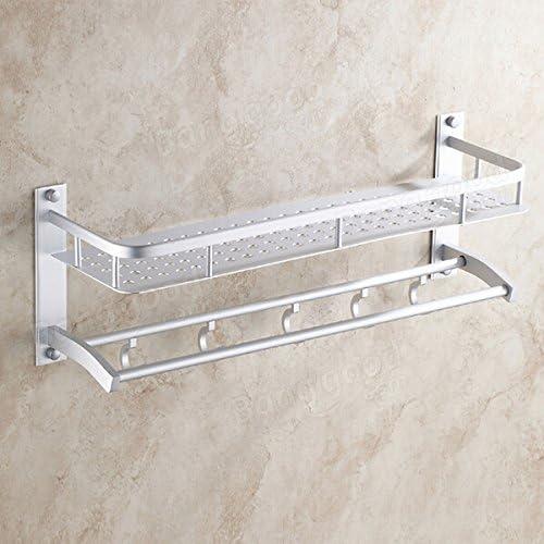 Aluminum Folded Silver Bath Towel Shelf Washcloth Rack Holder With 5 Hooks