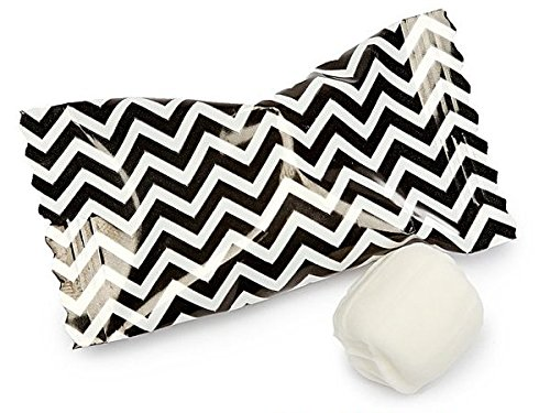 Chevron Buttermints 100ct - After Dinner Mints Individually Wrapped - Soft & Savory (Black and White) ()