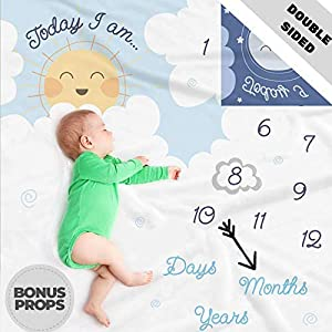Double Sided Monthly Baby Milestone Blanket- Month Blanket for Baby Pictures | Photo Blanket with Baby Photo Props | Monthly Blankets for Newborns | Boy and Girl Milestone Blanket (White Grey Blue)